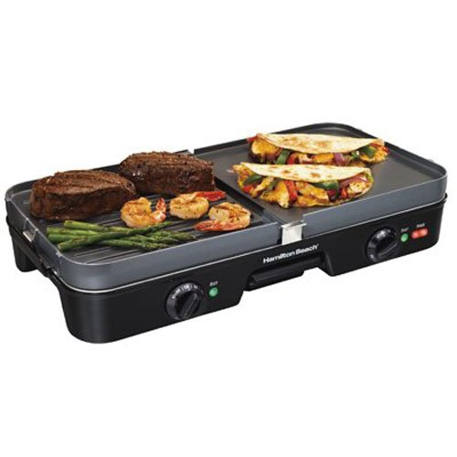 Hamilton Beach (38546) 3 in 1 Electric Smokeless Indoor Grill & Griddle Combo